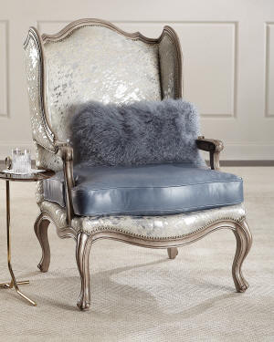 Massoud Fauna Hair Hide and Leather Wing Chair