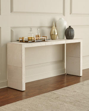 Bernhardt Seward Hair on Hide Wrapped Console Table