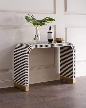 Interlude Home Beacon Bone Inlay Console Table
