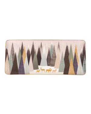 "Sara Miller Frosted Pines 14"" Sandwich Tray"
